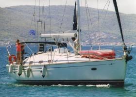 The yacht near Aegina fanari